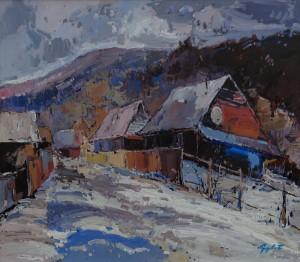 Z. Hohola Huts In A Village', acrylic