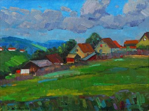 D. Mitsovda Huts Of The Mountain Village', 2017, oil on canvas, 60x45