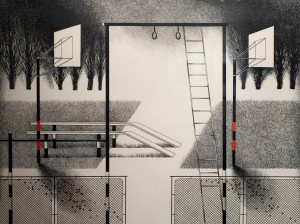 N. Ponomarenko 'Sport Court', 1983, mixed technique on paper, 33,5х45.jpg