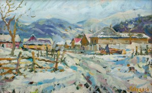 A. Sekeresh Bystryi Village In Winter', 2016, oil on cardboard, 40x60