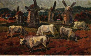 Oxen, 60s, oil on canvas, 57x97