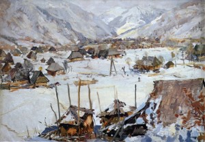 Village under the Mountains, 1960, oil on cardboard, 49х69,5
