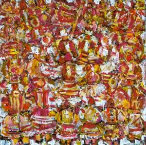 Festive Dance, 2010, tempera on canvas, 100х100