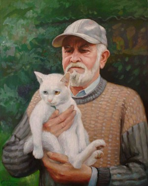 Popelych With A Cat, 2010, oil on canvas, 50x40