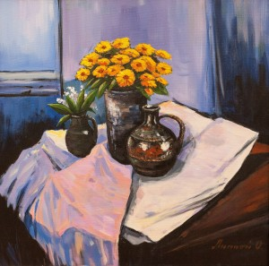 O. Lypchei 'Still Life With Yellow Flowers', 2018
