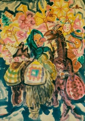 F. Manailo Carol Singers Are Coming , 1970, guache, watercolour on cardboard, 86x61'