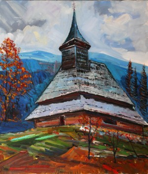 D. Mitsovda A Church', 2018, oil on canvas, 59x51