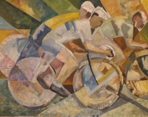 'Cyclists', 1973, oil on fibreboard, 89,5х123