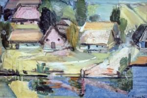 Село над рікою, 1960, к.зміш.техн., 33х48