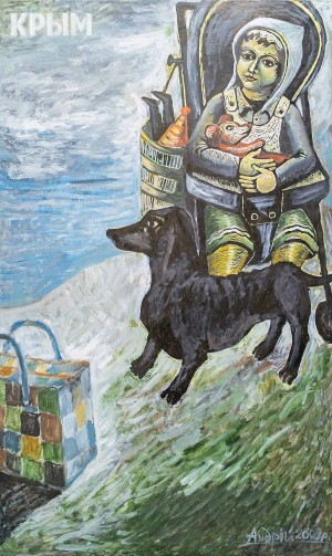 A. Humeniuk Arrived', 2009, oil on canvas, linorite, 172x104