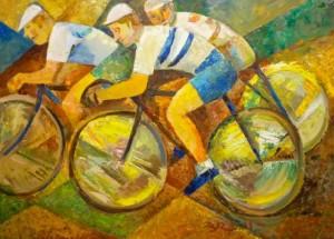 'Cyclists', 2011, 70x100