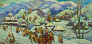 Гуцульське село, 1994, п.о., 57х115