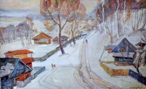 Village in Winter, 1960, oil on cardboard, 50x80