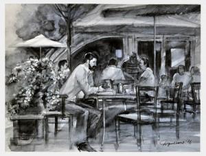 Ужгородське кафе, пап.акв., 31х41