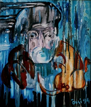 Self-portrait With A Dog, from the photo archive of Y. Nebesnyk, 1994, oil on canvas, 54x46
