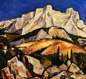'View Of Ai-Petri', 1989, oil on fibreboard, 96x103