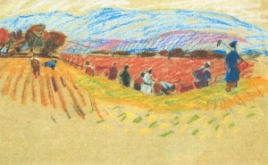 In The Field, 1971, pastel on paper, 26х42