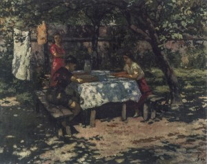 In The Garden, 1944, oil on cardboard, 68x85