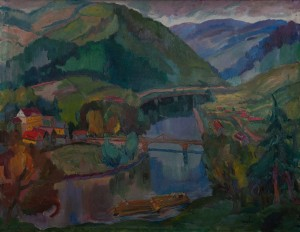 A. Erdeli 'A Valley Of The Mountain River', the beginning of the 1940s, oil on canvas, 110х137