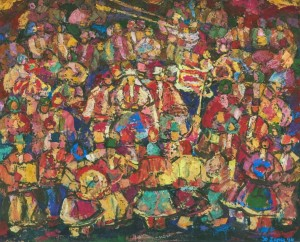 Holiday Song, 1990, tempera on canvas,80х100