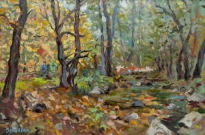 A. Sekeresh Stream In Lisarnia Village', 2014, oil on cardboard, 40x60
