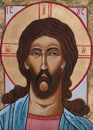 Author anonymous Christ Pantocrator', plywood, tempera, 15x20