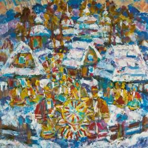 Festive Verkhovyna, 2010, tempera on canvas, 90х90