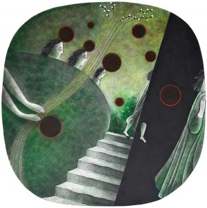 N. Ponomarenko 'Black Balls', 1981, mixed technique on paper, 36x36.jpg