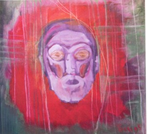 Self-portrait On The Red Background, 1995, oil on canvas, 60x60