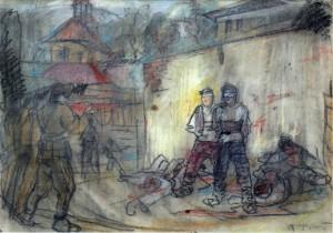 Shooting, 1940, paper, pastel, 59х84