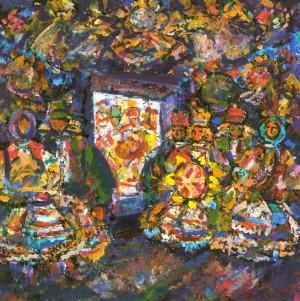 Christmas Eve, 2005, tempera on canvas, 80х80
