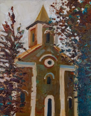 T. Yushko Catholic Church In Winter' (Mukachevo), 2018, oil on canvas, 40x30