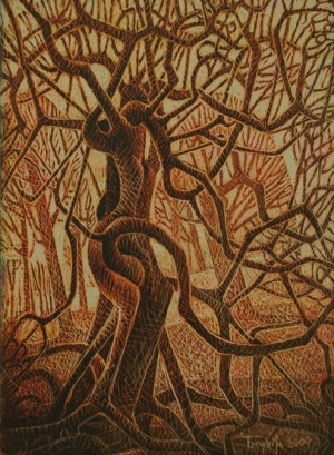 "From series ""Trees Life"". In The Garden, 2000, tempera on cardboard, 85x61,"