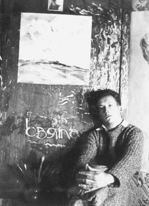 A. Boretskyi. In his studio in Uzhhorod,1930