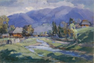 Stream In The Carpathian Village, 1960, oil on canvas, 64,5х94,5