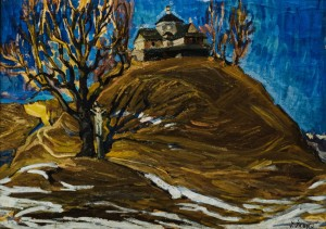 Strukivska church, Yasinia village, 1959-60, paper, oil, 54х74
