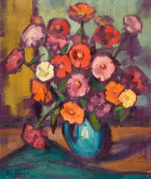 Zinnias In A Blue Jug, 1970, oil on canvas, 60х50