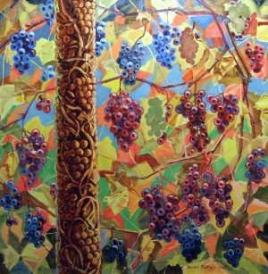 Grapes- apple-tree