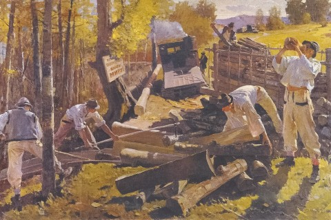 "How did Gabriel Gluck paint ""Loggers""?"