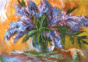 Lilac oil on fibreboard