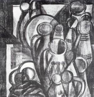 Натюрморт, 1987, пап.монотипія, 50х50