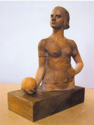 Girl With Ball, 2003, ceramics, 22х17х8