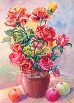 Roses And Apples, 1986, tempera on paper, 41x30