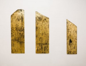 From the series Gold Of The Carpathians, 2012, acrylic on board, golden potal, triptych, 133x40, 128x40, 105x30