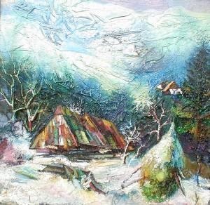 'Winter of Transcarpathia', 1995, plywood, mixed technique, 84x83.JPG