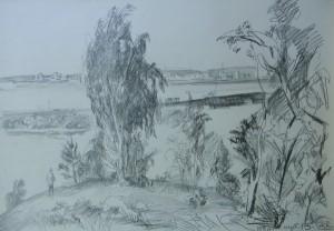 'Берег річки', 1986, пап.ол., 43х61,5