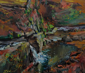F. Erfan Waterfall', 2017, oil on canvas