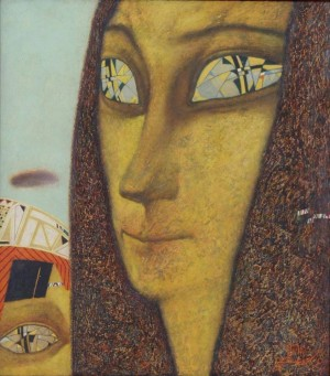 I. Paneiko 'Gioconda With The Child', 1995, fiberboard, levkas, yolk emulsion, tempera