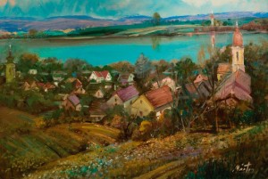 The Danube Bank In Százhalombatta, 1990s, oil on canvas, 60x80