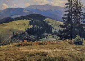The Velykyi Verkh Mountain, 1951, oil on canvas, 75x100